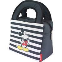 8d455952c Lancheira Listrada Mickey Mouse® - Preta & Branca - Zona Criativa