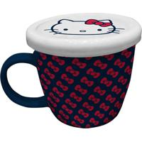 Caneca De Porcelana Azul Com Tampa Hello Kitty Urban Home