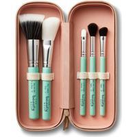 Kit Com Pinceis De Maquiagem- Verde ÁGua & Prateado-The Beauty Box