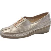 Sapato Couro Laura Prado Confort Prata Velho