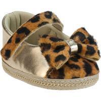 Sapato Boneca Animal Print Com Laã§O- Dourado & Marrom