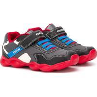Geox Kids Tênis Com Velcro E Recortes Contrastantes - Preto