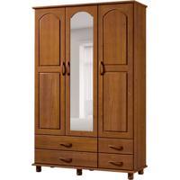 Guarda-Roupa Casal Com Espelho Esmeralda 3Pt 4Gv Imbuia