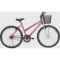 Bicicleta Aro 26 Mtb Sem Marcha Model Feminina Com Cestão Rosa Athor Bikes