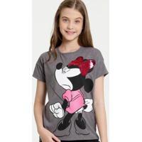 Blusa Juvenil Disney Minnie Paetês Feminina - Feminino-Cinza