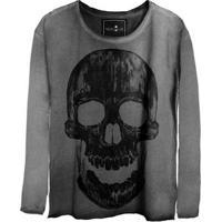 Camiseta Estonada Manga Longa Skull Historic