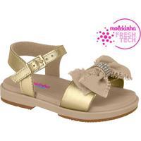 Sandália Com Laço- Dourada & Bege- Molekinhamolekinha