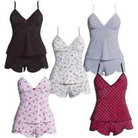 Kit Com 5 Baby Dolls - Polo Match Feminino - Feminino-Branco+Preto