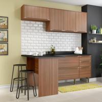 Cozinha Compacta Calábria Bancada, Aéreo E Balcão - Nogueira