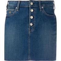 Calvin Klein Jeans Saia Jeans Com Barra Desfiada - Azul