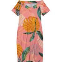 Vestido Rosa Tubinho Floral