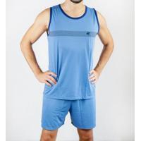 Pijama Regata Gislal Verão Shorts Masculino - Masculino-Azul Claro