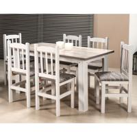Conjunto De Mesa Com 6 Cadeiras Paloma Branco