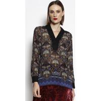 Blusa Floral Translãºcida - Preta & Azul Escuro- Cottcotton Colors Extra