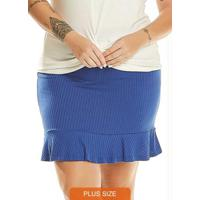 Saia Plus Size Feminino Azul