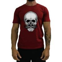 Camiseta Básica Mxd Conceito Caveira De Bigode Algodão Penteado Masculina - Masculino