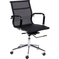 Cadeira Office Eames Tela- Preta & Prateada- 97X61X4Or Design