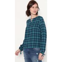 Blusa Com Recortes - Verde & Brancamalwee