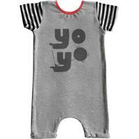 Macacão Infantil Curto Comfy Yo-Yo - Unissex-Cinza