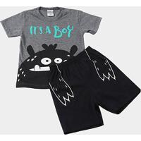 Pijama Infantil Kamylus Curto Fluorescente Masculino - Masculino-Mescla