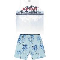 """Conjunto De Regata """"Holiday"""" + Bermuda- Branco & Azul Clrovitex"""