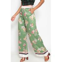 Calã§A Pantalona Floral- Verde & Rosa- Gata Bakanagatabakana