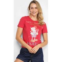 Blusa Cativa Disney Mickey Color Paetê Feminina - Feminino-Vermelho