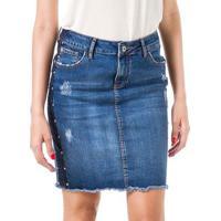 Saia Bloom Jeans Lápis - Feminino-Azul