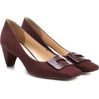 Scarpin Couro Shoestock Salto Baixo Bico Quadrado Fivela Forrada - Feminino-Vinho