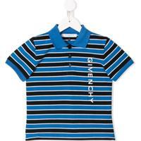 Givenchy Kids Camisa Polo Listrada - Azul