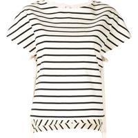 Portspure Camiseta Com Listras E Barra Assimétrica - Branco