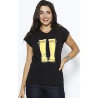 Camiseta Botas - Preta & Amarelaclub Polo Collection
