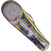 Kit Badminton 4 Raquetes 2 Petecas 1 Rede 1 Suporte Bolsa Vollk