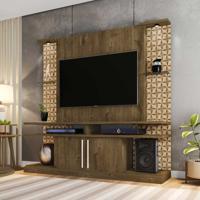 Rack Com Painel Para Tv Até 60 Polegadas Com Led York 2075189 Rústico/3D - Bechara Móveis