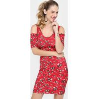 Vestido Colcci Curto Canelado Estampado - Feminino-Vermelho
