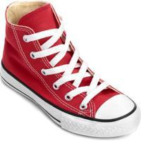 Tênis Infantil Converse All Star Chuck Taylor Hi - Unissex-Vermelho+Preto