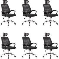 Conjunto Com 6 Cadeiras De Escritório Presidente Light Preto