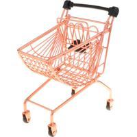 Mini Carrinho De Supermercado Curvo Compras Metal Porta Treco Decoração