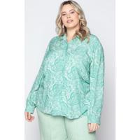 Camisa Almaria Plus Size Tal Qual Estampada Verde