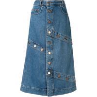 J Koo Saia Midi Evasê Jeans - Azul