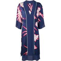 Pinko Floral Satin Kimono Dress - Azul