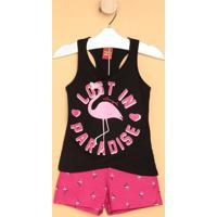 Conjunto De Regata Flamingo + Short- Preto & Rosakyly