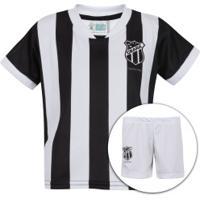 Kit De Uniforme De Futebol Do Ceará: Camisa + Calção - Infantil - Preto/Branco