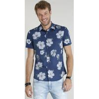 4816cced22055 CEA  Camisa Masculina Comfort Estampada Floral Manga Curta Azul Marinho