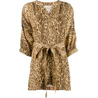 Zimmermann Blusa Com Cinto E Estampa Animal Print - Neutro