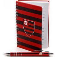 Caneta Roller Pen De Metal Com Caderno - Flamengo - Unissex