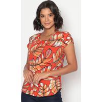 Blusa Floral Com Recorte Torcido- Vermelha & Laranjavip Reserva