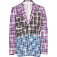 Comme Des Garçons Homme Plus Blazer Xadrez - Pink Grey Blue