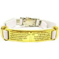 Bracelete Couro Via Luna Religião Masculino - Masculino-Branco