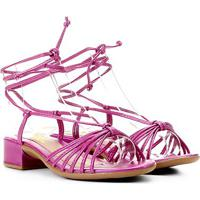 Sandália Infantil Menina Fashion Amarração Tiras C/ Saltinho - Feminino-Pink